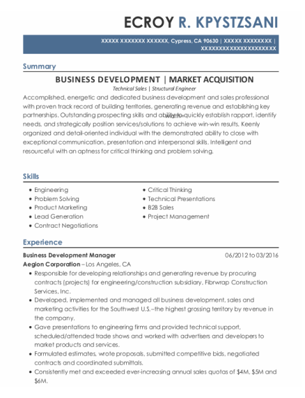 Business Development Manager resume template California