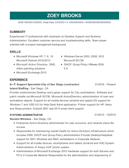 Sr IT Support Specialist City of San Diego resume sample California