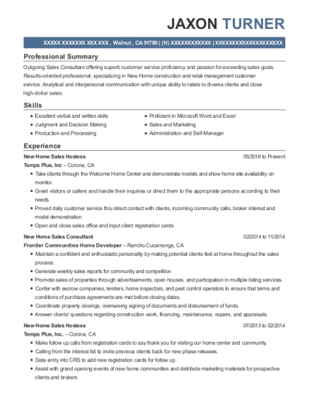 New Home Sales Hostess resume example California