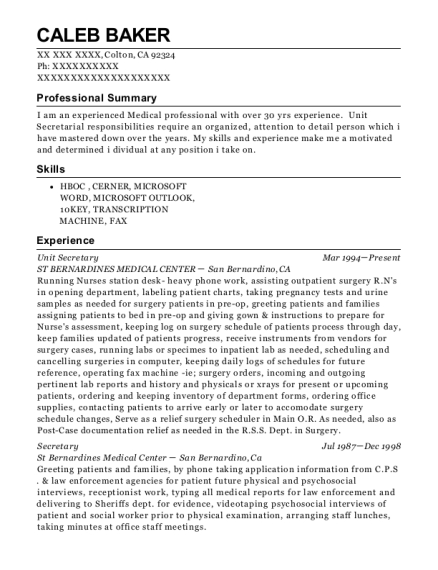 Unit Secretary resume format California