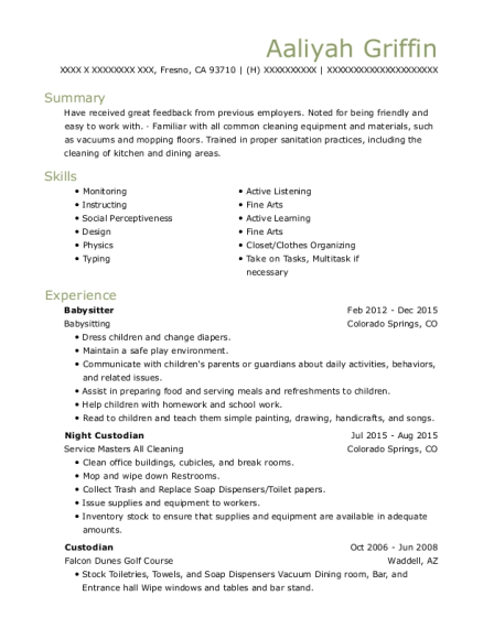 Babysitter resume sample California