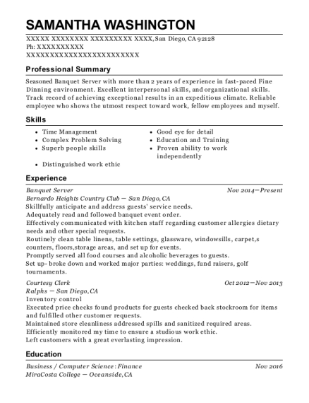 Banquet Server resume template California