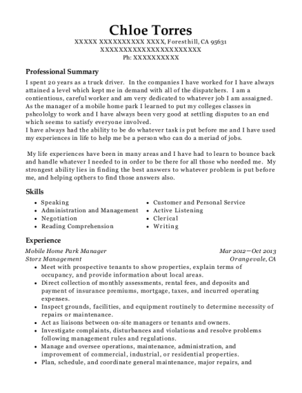Mobile Home Park Manager resume format California