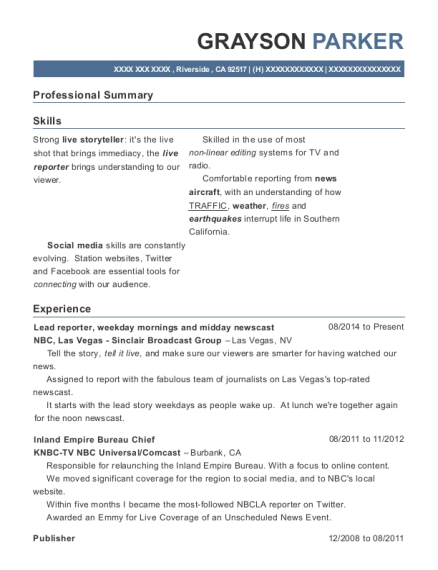 Lead reporter resume example California