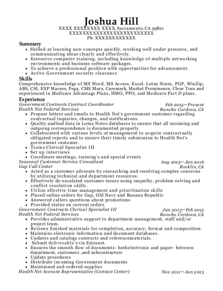Government Contracts Contract Coordinator resume format California