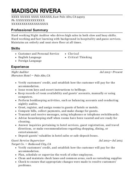 Night Auditor resume example California