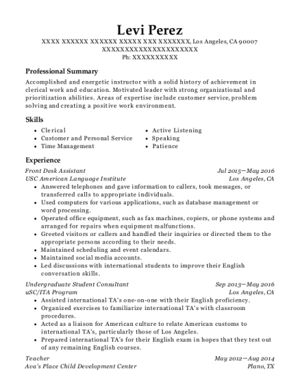 Front Desk Assistant resume example California