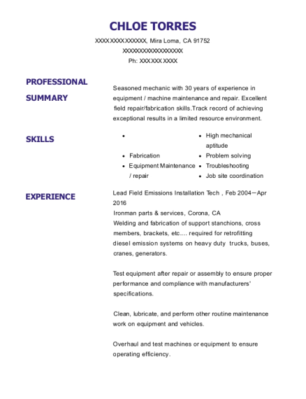 Lead Field Emissions Installation Tech resume format California