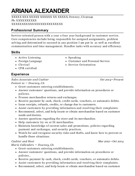 Sales Associate and Cashier resume sample California