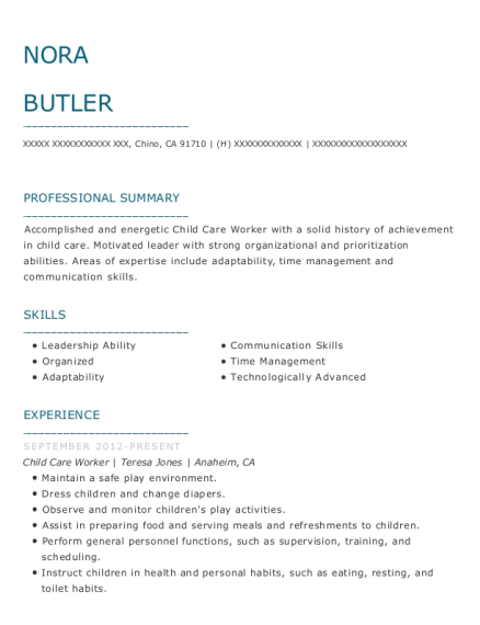Child Care Worker resume format California