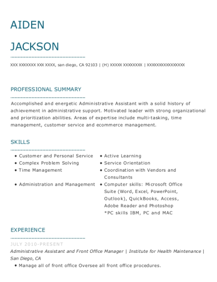 Administrative Assistant and Front Office Manager resume sample California