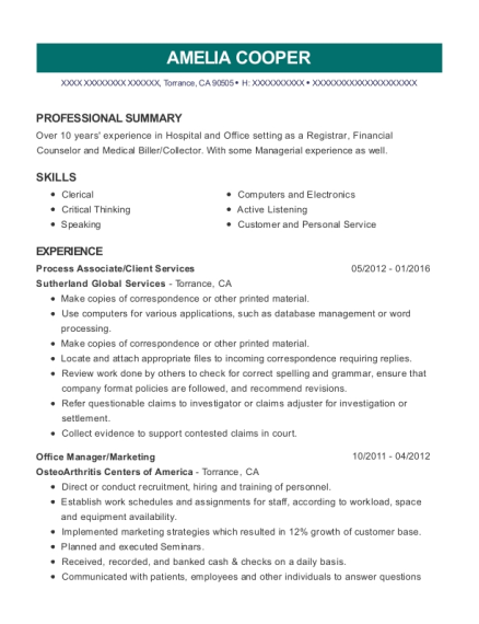 Process Associate resume format California