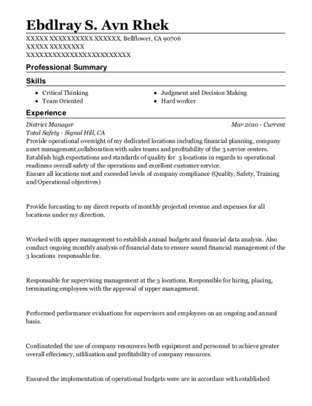 District Manager resume sample California