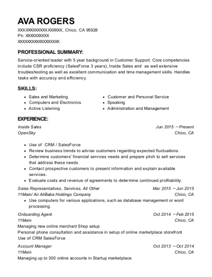 Inside Sales resume example California