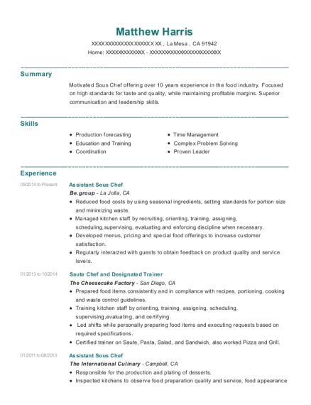 Assistant Sous Chef resume sample California