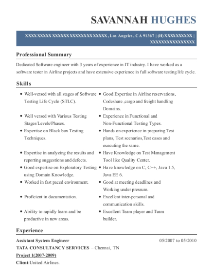 Assistant System Engineer resume format California