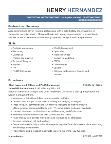 Chief Investment Officer and Portfolio Manager resume format California