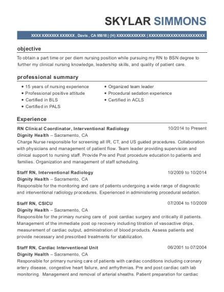 RN Clinical Coordinator resume format California