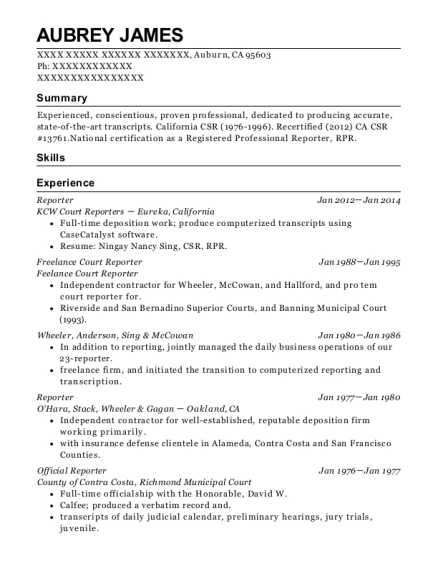 Reporter resume format California