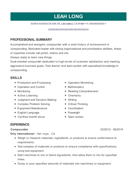Compounder resume format California
