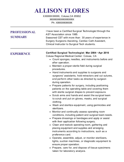 Certified Surgical Technologist resume template California