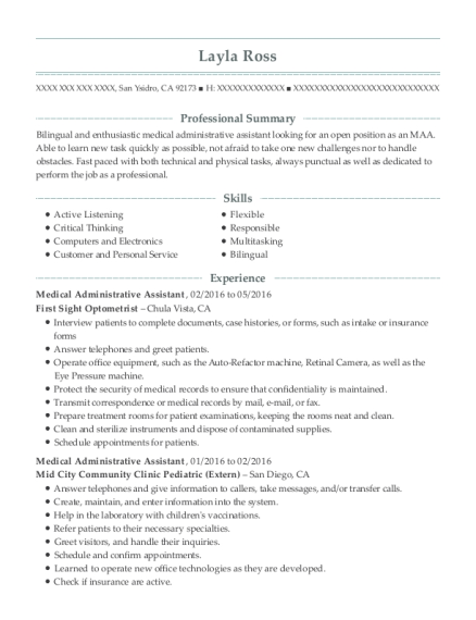 Medical Administrative Assistant resume sample California