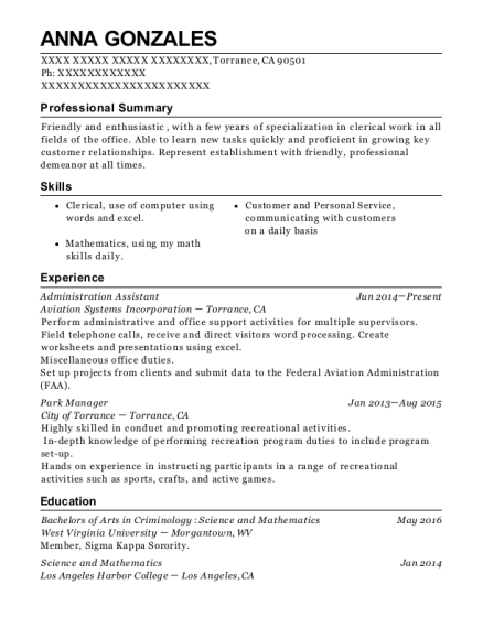 Administration Assistant resume format California