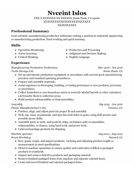 Manufacturing Production Technicians resume template California