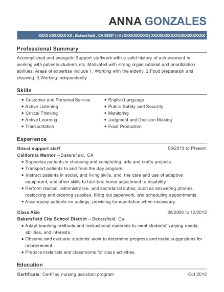 Direct support staff resume example California