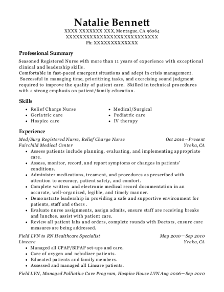 Med resume template California