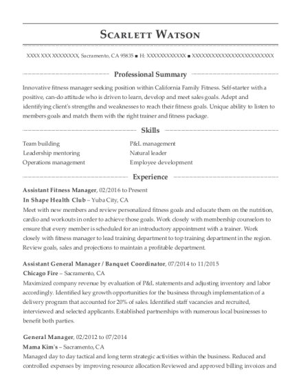 Assistant Fitness Manager resume sample California