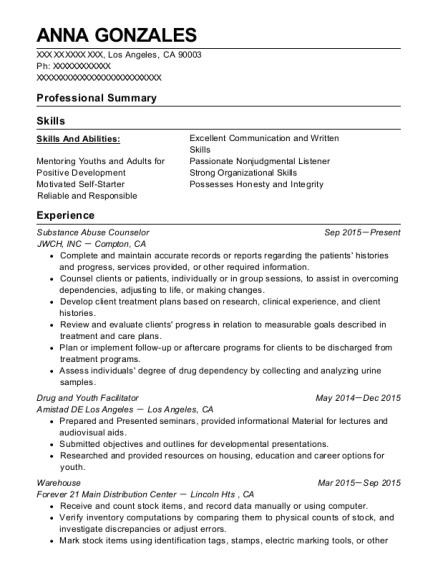 Substance Abuse Counselor resume template California