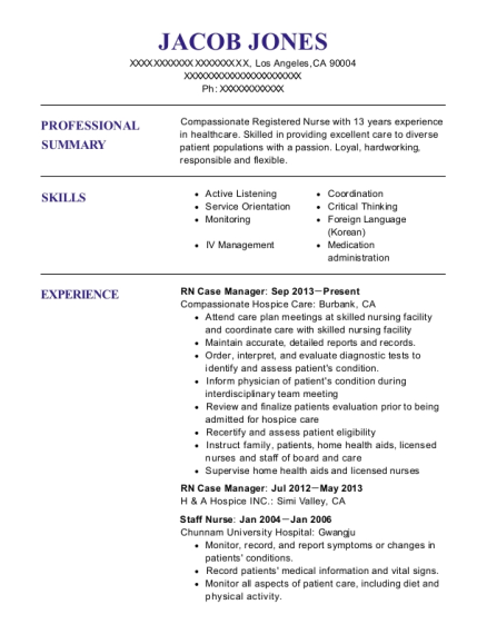 RN Case Manager resume template California