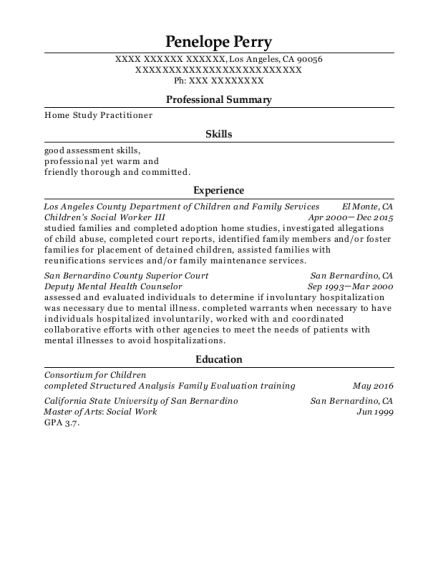 Childrens Social Worker III resume example California