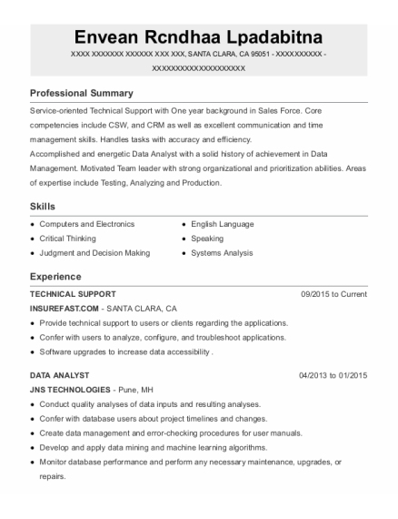 Technical Support resume template California