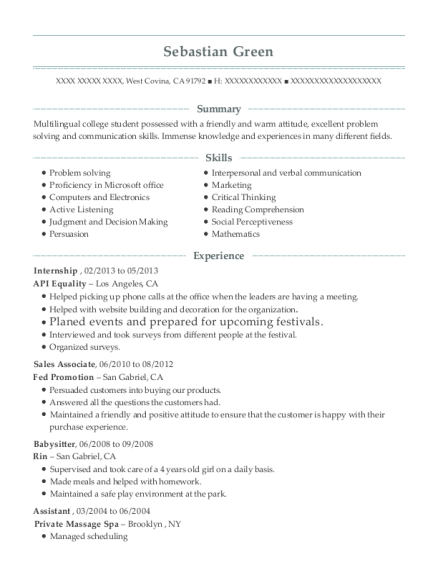 Internship resume sample California