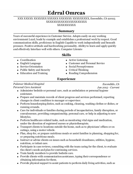 Personal Care Assistant resume template California