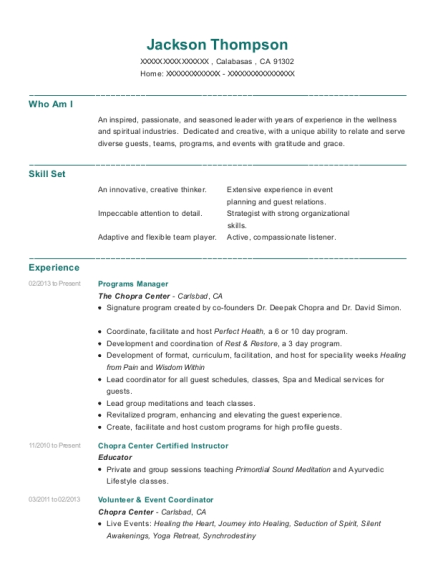 Programs Manager resume template California