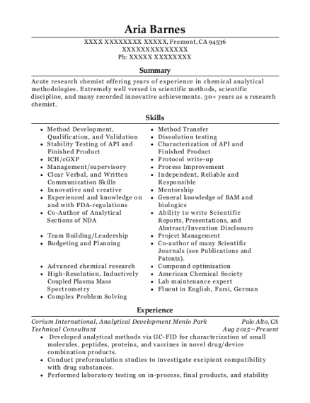 Technical Consultant resume example California