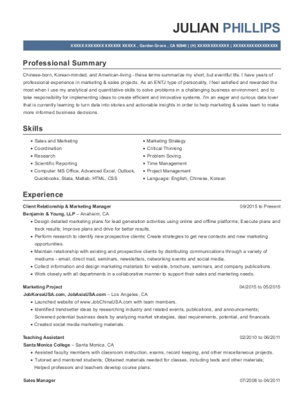 Client Relationship & Marketing Manager resume template California