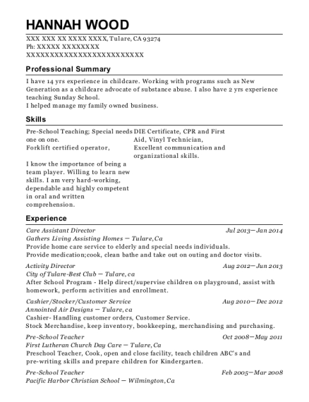 Care Assistant Director resume template California