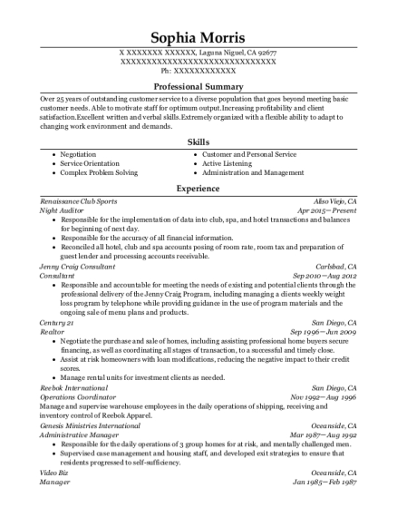 Night Auditor resume template California