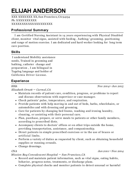 HHA resume sample California