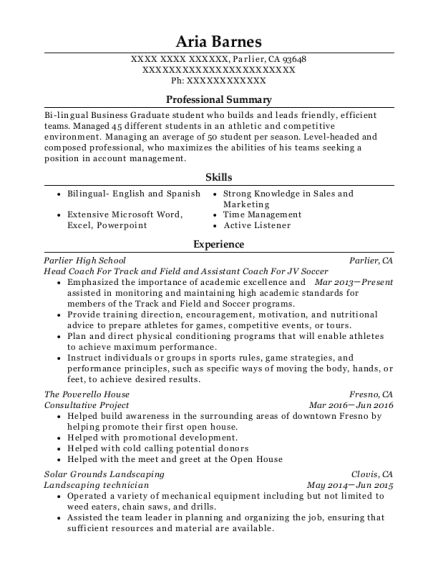 Head Coach For Track and Field and Assistant Coach For JV Soccer resume template California
