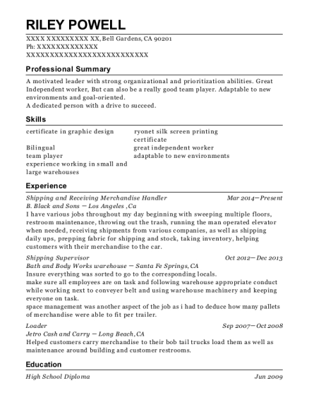 Shipping and Receiving Merchandise Handler resume template California