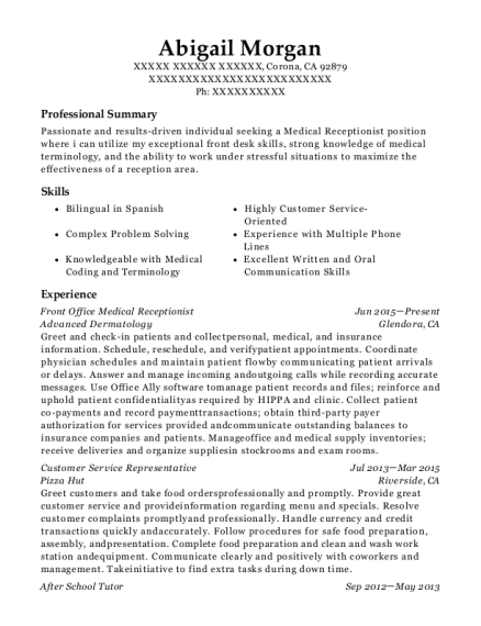 Front Office Medical Receptionist resume example California