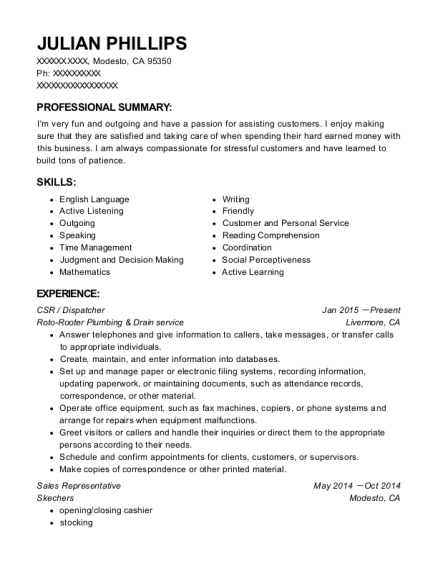 CSR resume example California