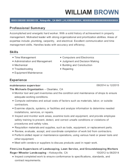 Maintenance Supervisor resume example California