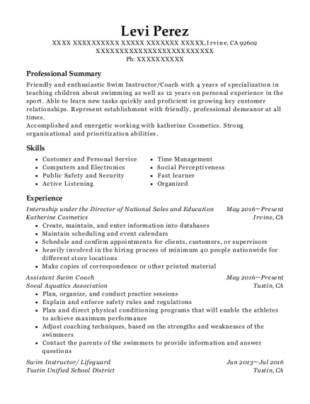 Internship under the Director of National Sales and Education resume template California