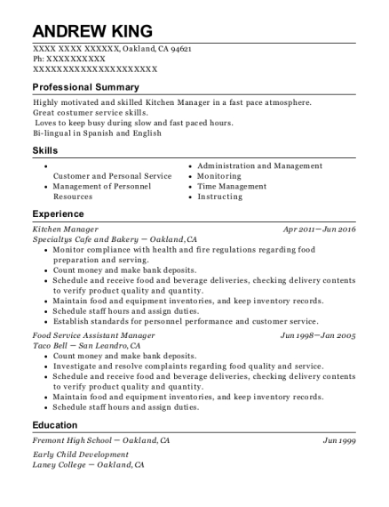 Kitchen Manager resume format California